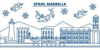 Spain, Marbella winter city skyline. Merry Christmas, Happy  Stock Photos