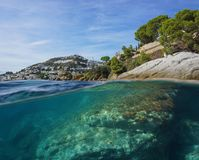 Spain Mediterranean coast and rock underwater Stock Photo