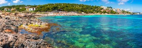 Spain Mediterranean Sea coastline Majorca. Beautiful seaside on Mallorca island, Spain Mediterranean Sea, Balearic Islands stock images