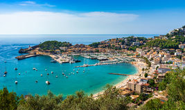 Spain Mediterranean Sea idyllic view of Port de Soller Majorca. View of Port de Soller, Majorca Spain beautiful island scenery, Mediterranean Sea, Balearic Royalty Free Stock Images