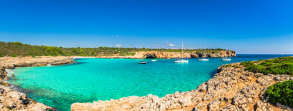 Spain Mediterranean Sea Majorca Beach Bay Cala Varques. Panorama view of the beautiful bay beach of Cala Varques on Majorca Spain, Mediterranean Sea, Balearic Royalty Free Stock Photography