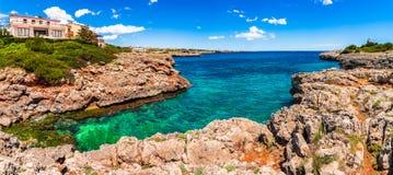 Spain Mediterranean Sea Majorca Island. Beautiful panorama view of island scenery on Mallorca, Spain Mediterranean Sea, Balearic Islands Stock Image