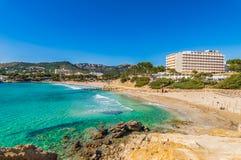 Spain Mediterranean Sea, seaside beach in Peguera on Majorca. Beach Platja La Romana in Paguera, coast landscape on Mallorca, Spain Balearic Islands stock photography
