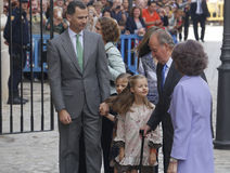 Spain Monarchy 03. Spain´s royals, Two kings generation, right side King juan Carlos and queen Sofia, at left his son and heir recently crowned  King Felipe Royalty Free Stock Photo