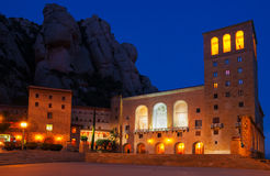 Spain. Montserrat Monastery. Night view of Santa Maria de Montse Stock Images