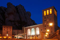 Spain. Montserrat Monastery. Night view of Santa Maria de Montse Royalty Free Stock Photo