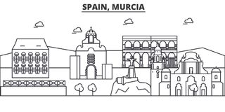 Spain, Murcia architecture line skyline illustration. Linear vector cityscape with famous landmarks, city sights, design. Icons. Editable strokes Stock Image