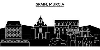 Spain, Murcia architecture vector city skyline, travel cityscape with landmarks, buildings, isolated sights on. Spain, Murcia architecture vector city skyline Royalty Free Stock Photos