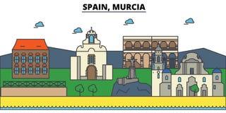 Spain, Murcia. City skyline architecture . Editable. Spain, Murcia. City skyline architecture, buildings, streets, silhouette, landscape, panorama landmarks Royalty Free Stock Image