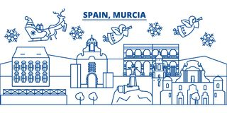 Spain, Murcia winter city skyline. Merry Christmas, Happy. New Year decorated banner with Santa Claus.Winter greeting line card.Flat, outline vector. Linear Stock Photos