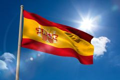 Spain national flag on flagpole Stock Photo