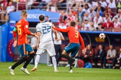 Spain national football team centre-back Gerard Pique against Russia national team striker Artem Dzyuba. Moscow, Russia – July 1, 2018. Spain national royalty free stock photos