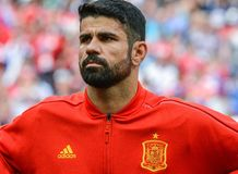 Spain national football team striker Diego Costa. Moscow, Russia - July 1, 2018. Spain national football team striker Diego Costa before FIFA World Cup 2018 royalty free stock image