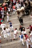 Spain Navarra Pamplona 10 July 2015 S Firmino fiesta men run fro. S Firmino fiesta men run from bulls in street Estafeta the bulls will go toward the plaza de stock images