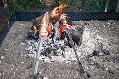 Spain, Nerja.  seafood cooked over charcoal and flames. royalty free stock images