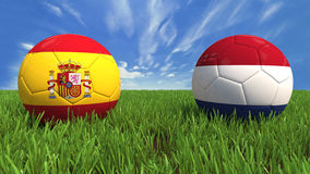 Spain-Netherlands. 3D soccer balls with spain and netherlands flag, world football cup 2014. Palaced on 3d grass. Background  with clipping path Royalty Free Stock Photos