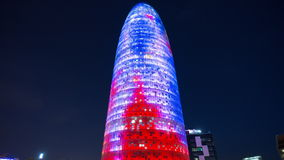 Spain night light holiday decoration torre agbar 4k time lapse stock video