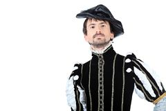 Spain nobleman. Portrait of a handsome man grandee in 16th century costume. Isolated over white background Royalty Free Stock Images
