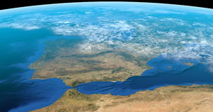 Spain and north of Morocco from space. Animation of Spain and north of Africa from satellite in the outer space stock video