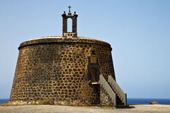 Spain the old wall castle  t in teguise arrecife lanzarote Stock Image