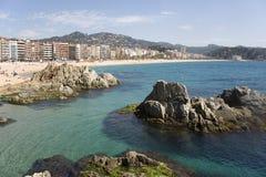Spain, opinião de Lloret de março de uma praia. Imagem de Stock Royalty Free