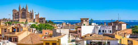 Spain Palma de Majorca Cathedral La Seu. Panorama view of the town Palma de Mallorca with Cathedral La Seu, Spain Mediterranean Sea, Balearic Islands Stock Image