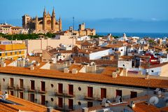 Spain Palma de Mallorca historic city center with view of the gothic Cathedral La Seu. Balearic islands. Spain Palma de Mallorca historic city center with view Stock Image