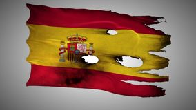 Spain perforated, burned, grunge waving flag loop alpha stock video footage