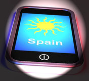 Spain On Phone Displays Holidays And Sunny Weather Royalty Free Stock Photo