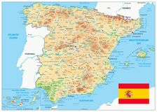 Spain Physical Map. – highly detailed vector illustration. Image contains layers with shaded contours, land names, city names, water objects and it`s names Royalty Free Stock Image