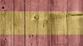 Spain Flag Wooden Fence. Spain Politics News Concept: Spanish Flag Wooden Fence stock image