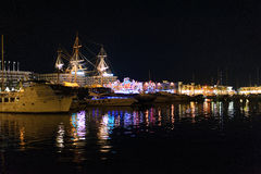 Spain. Port alicante at night. Spain. Port alicante at dark night. boat Stock Photo