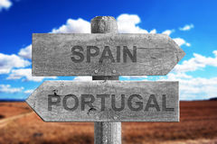 Spain and Portugal border signal. Made of wood outdoor stock images