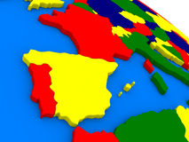 Spain and Portugal on colorful 3D globe Royalty Free Stock Photos
