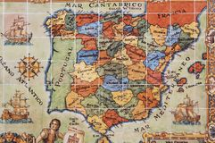 Spain and Portugal map. This picture is taken from painted tiles at Segovia royalty free stock image