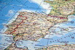 Spain and Portugal map. Map of Spain, Portugal and part of France Stock Photography