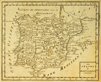 Spain and Portugal old map stock image