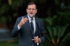 Spain prime minister Mariano Rajoy gesturing during speech Stock Photos