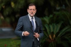 Spain prime minister Mariano Rajoy gesturing during speech Royalty Free Stock Photography