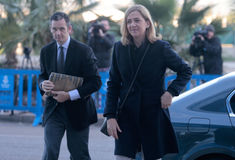 Spain princess Cristina arriving to legal court. Spain's Princess Cristina (R) arrives to court with husband Inaki Urdangarin to appear on charges of tax fraud Royalty Free Stock Photo