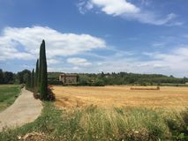 Spain province. Agriculture field and villa in spain province Royalty Free Stock Image