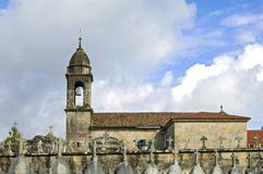Ancient church and graveyard in Galicia stock photography