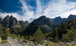 Spain Pyrenees. Mountains and deep blue sky, panorama Stock Photos