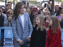 Spain Queen Letizia and princesses. Spain royal family Queen Letizia and princesses Leonor L and Sofia pose after attending an easter mass in the Cathedral of Royalty Free Stock Photos