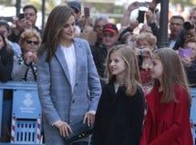 Spain Queen Letizia and princesses Royalty Free Stock Photos