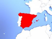 Spain in red on map Royalty Free Stock Photography