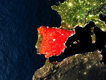 Spain in red from space at night Stock Images