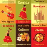 Spain retro posters set Stock Photo