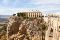 Spain, Rhonda. New bridge and house on the edge of the precipice Stock Image