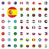 Spain round flag icon. Round World Flags Vector illustration Icons Set. Spain round flag icon. Round World Flags Vector illustration Icons Set Stock Image